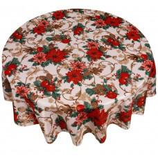 Кухонная скатерть круглая 178 см Carnation Home Fashions Christmas Floral XFAB-RD-CF