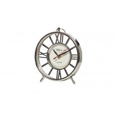 Часы настольные круглые серебристые IK50177