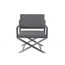 Кресло на металлическом каркасе черно-белое ZW-661