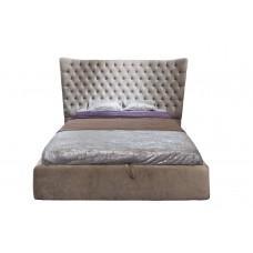 Кровать двуспальная велюровая бежевая