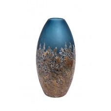 Ваза стеклянная голубая с золотом HJ1654-40-S81