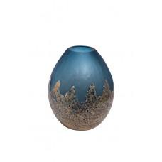 Ваза стеклянная голубая с золотом HJ6040-30-S81