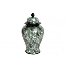 Ваза керамическая с крышкой бело-зеленая (принт «Листья) 55RD3112L