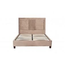 Кровать двуспальная велюровая серо-бежевая N-NEWB01 BG