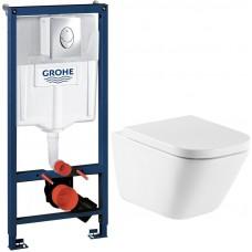 Комплект унитаза Roca The Gap Clean Rim 34647L000 с инсталляцией Grohe Rapid SL 38721001