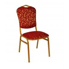 Банкетный стул Квадро 20мм с накладной спинкой – золотой, красные цветы 001-74