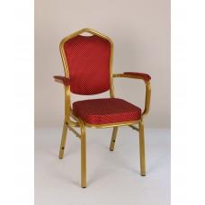 Банкетный стул Квадро 25мм с подлокотникам - золотой, красная корона 001-96
