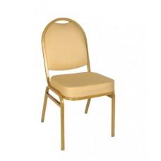 Банкетный стул Раунд 20мм - золотой, бежевая корона УТ000000113