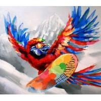 Картина попугай на сноуборде Kare Ob55512