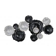 """Декор настенный """"Цветы"""" серебристо-черные 37SM-0277-R1"""