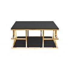 Стол журнальный с черным стеклом (золотой) Garda Decor 46AS-CT4426-GOLD