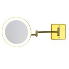 Зеркало настенное с светодиодной подсветкой, без провода, с 2-х кратным увеличением золотое Koh-i-noor DISCOLOLED 35/2G2