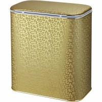 Корзина для белья Cameya Цветы FGG-M-9 с микролифтом средняя Золото, кант золото