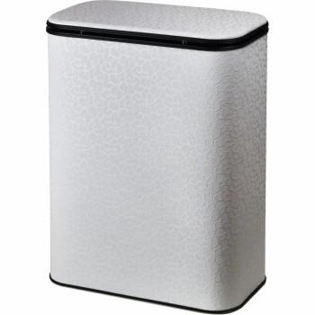 Корзина для белья Cameya Цветы FWС-M -9 с микролифтом средняя Белая, кант черный