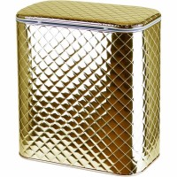 Корзина для белья Cameya Стеганая GC-M-9 с микролифтом средняя Золотая, кант золото