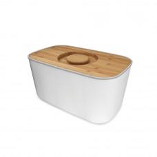 Хлебница стальная с разделочной доской из бамбука белая  Joseph Joseph 80044