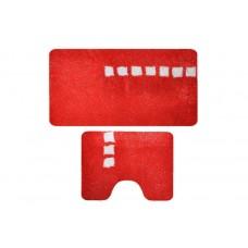 Комплект ковриков для ванной с серебряным люрексом 2 предмета PRIMANOVA D-15243 Roma (красный)