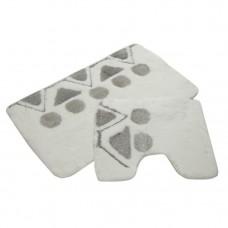 Комплект ковриков для ванной с серебряным люрексом 2 предмета PRIMANOVA D-15055 Martha (белый)
