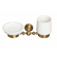 Стакан и мыльница круглая настенные керамические Cameya A1634K