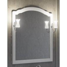 Зеркало со светильниками Smile Империал 80 в белой деревянной раме