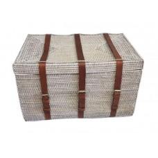 Сундук из ротанга с кожаными ремешками LC01 W белый