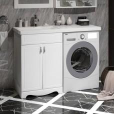 Тумба с раковиной под стиральную машину Opadiris Клио белый матовый