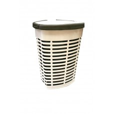 Корзина для белья пластиковая бежевая с коричневым чехлом Primanova PALM M-E44-09-10