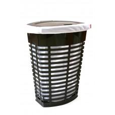 Корзина для белья пластиковая коричневая с белым чехлом Primanova PALM M-E44-10-01