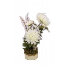 """Искусственные цветы """"Белые хризантемы в жестяном кашпо 42 см"""" D-D70039"""